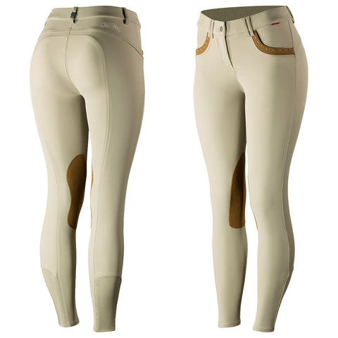 B Vertigo Denise Women's Mid-Rise Curvy Knee Patch Breeches