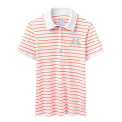 Joules Ladies Phillipa Slim Fit Polo Shirt Fluoro Orange Stripe