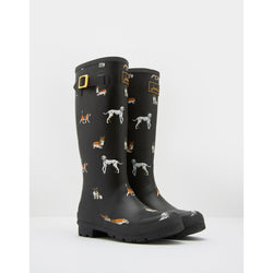 Joules Black Dog Tall Printed Welly Rain Boot