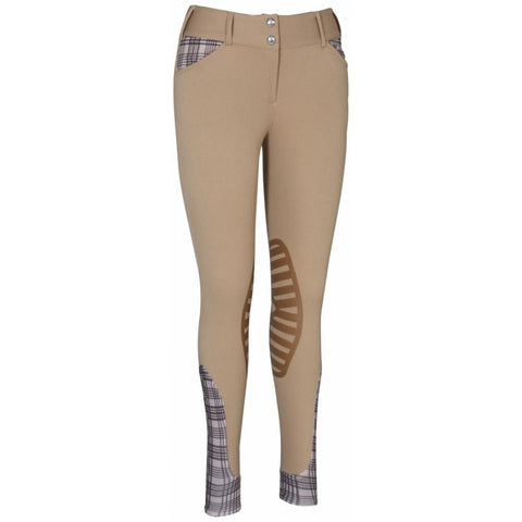 EQUINE COUTURE LADIES BAKER PRO KNEE PATCH BREECHES SAFARI