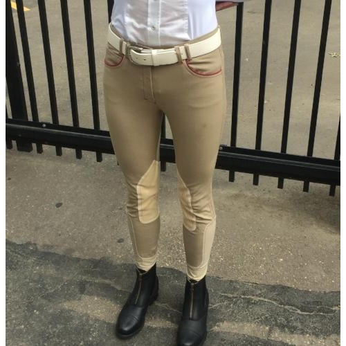 HORSELiFE Schooling Breeches Knee Patch Beige
