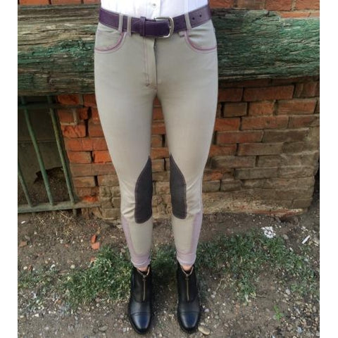 HORSELiFE Schooling Breeches Knee Patch Putty