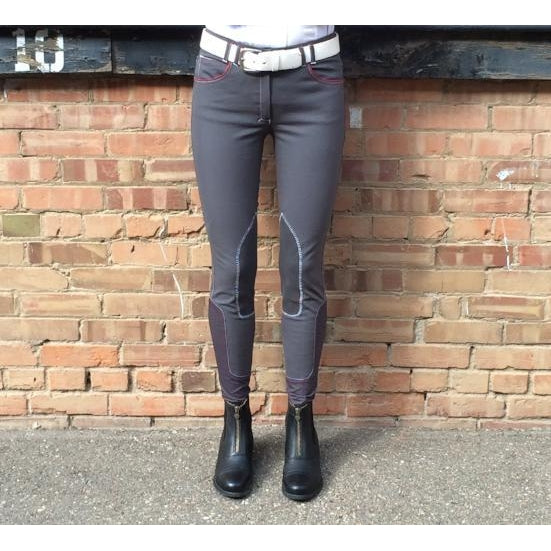 HORSELiFE Schooling Breeches Knee Patch Charcoal
