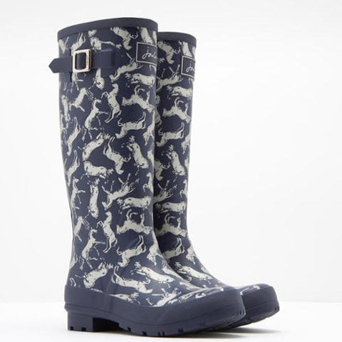 Joules Scribbly Horse Tall Printed Welly Rain Boot