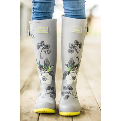 Joules Silver Bird Tall Printed Welly Rain Boot