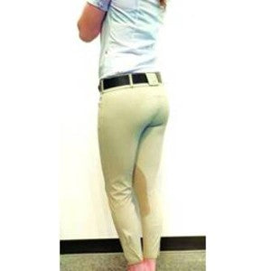 HORSELiFE Nanosphere Breeches Knee Patch Taupe Front Zip