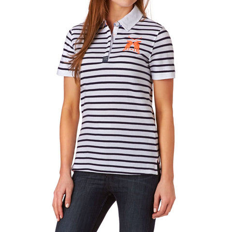 Joules Ladies Phillipa Slim Fit Polo Shirt Navy Stripe