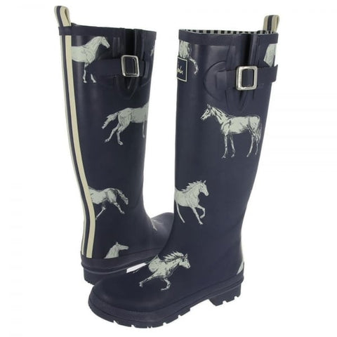 Joules Navy Horse Tall Printed Welly Rain Boot