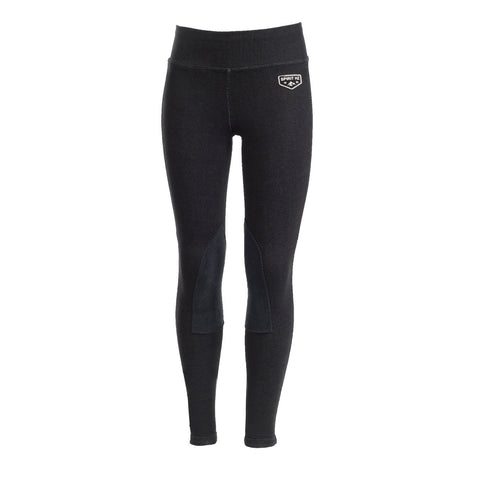 Horze Spirit Kid's Knee Patch Active Tights Light Brown Black