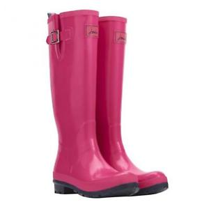 Joules Pink Gloss Tall Printed Welly Rain Boot