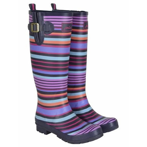 Joules Multi Stripe Tall Printed Welly Rain Boot