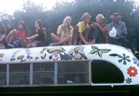 Woodstock crowd on bus