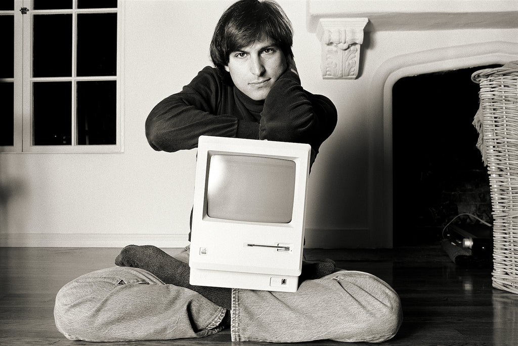 "Steve Jobs, Woodside, CA, 1984, ""Mac on lap Bel Air"""