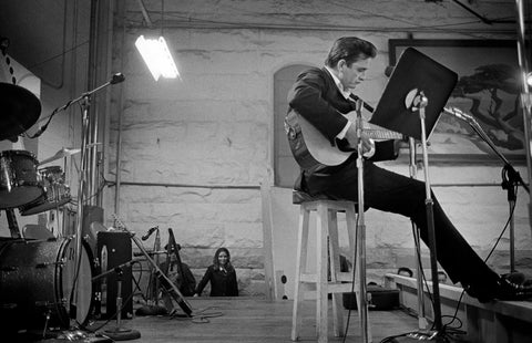 Johnny Cash performing at Folsom prison