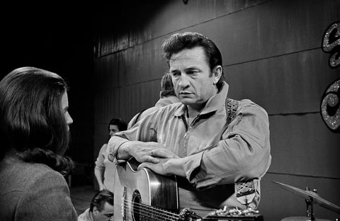 Johnny Cash and June Carter at San Quentin Prison.  1969