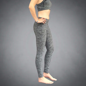Side View of iPhone 8+ Pocket Gray Heather Yoga Leggings by Richard Blake Design