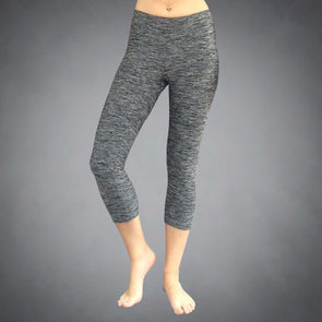 Front View of Gray Heather Yoga Capris by Richard Blake Design