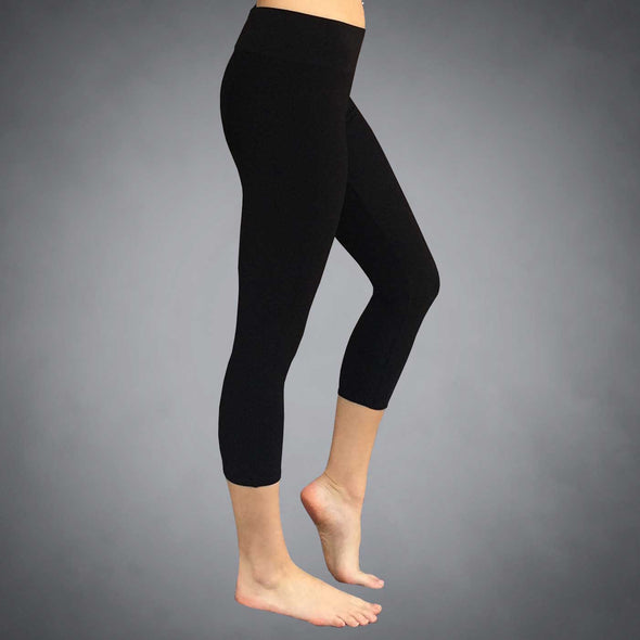 Side View of Recycled Eco Friendly Capri Leggings by Richard Blake Design