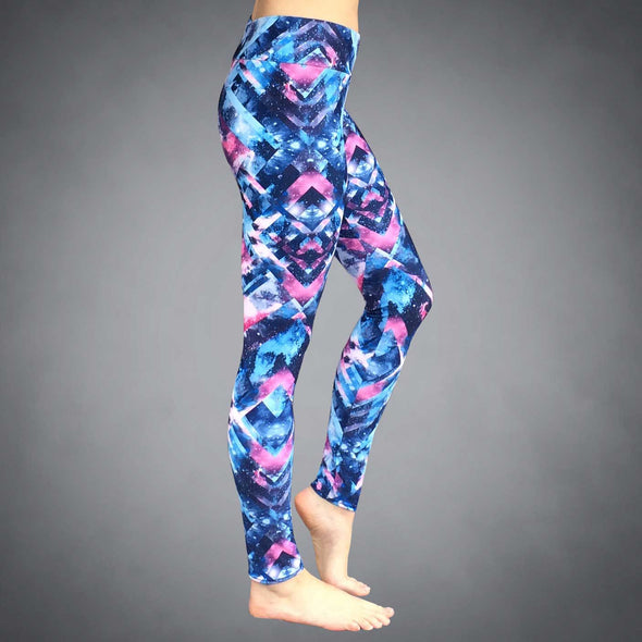 Side View of Galactic Lux Yoga Leggings by Richard Blake Design