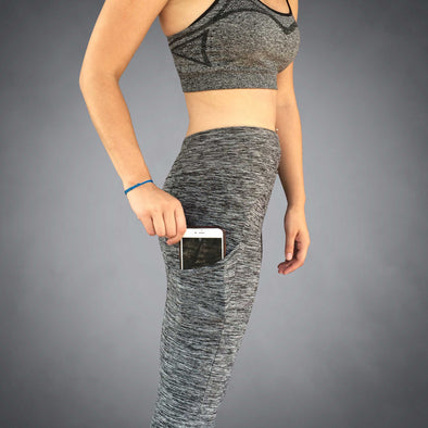 Close Up Side View of iPhone 8+ Pocket Gray Heather Yoga Capri by Richard Blake Design