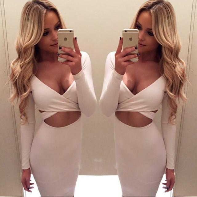 Long Sleeve Criss Cross Bare Midriff Dress