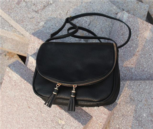 Tassel Leather Cross Body Bag