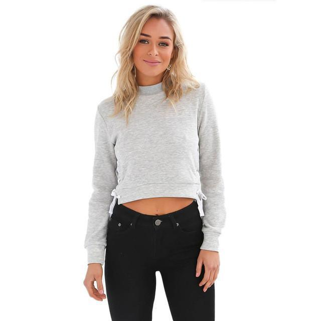 Side Lace Cropped Sweatshirt