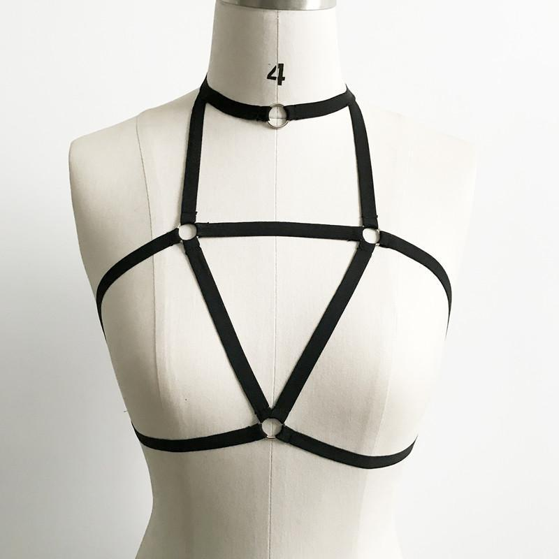 Sexy Chic Cut-Out Halter Harness Strap Bra