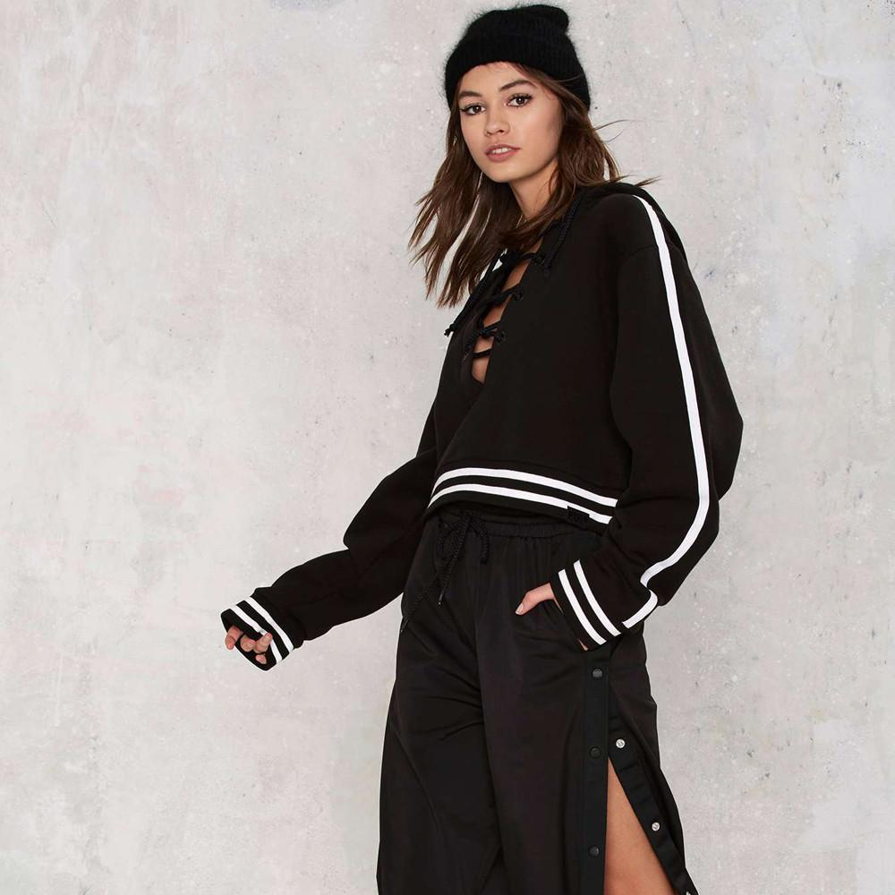 Angelika Lace Up Striped Hoodie