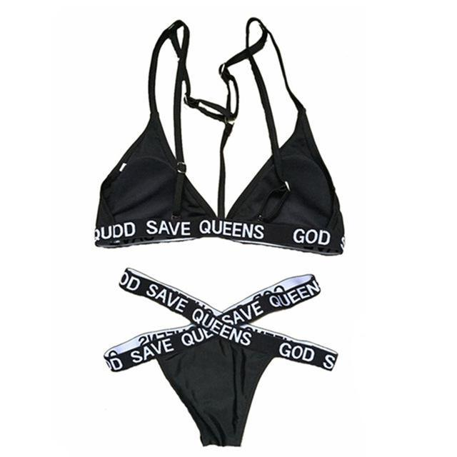 GOD SAVE QUEENS 2 Piece Bandage Swimsuit