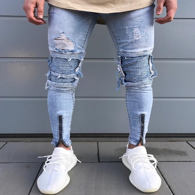 Ripped Biker Jeans w/ Zipper