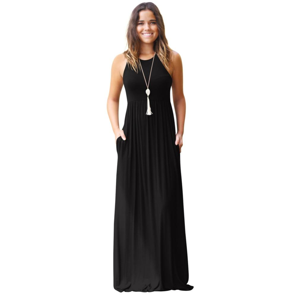 Sleeveless Racerback Maxi Dress