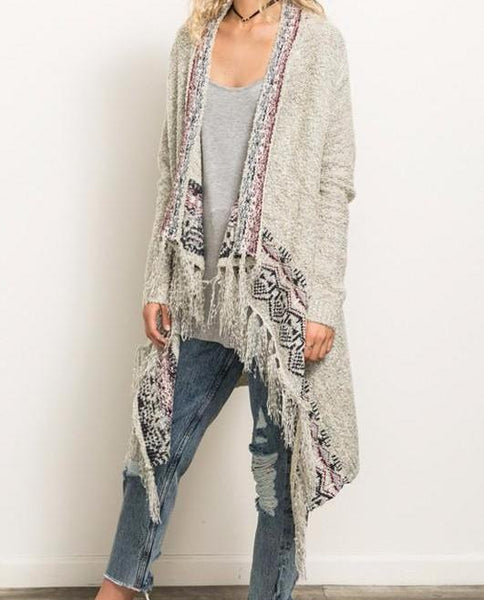 Fringe Hem Tribal Trim Cardigan
