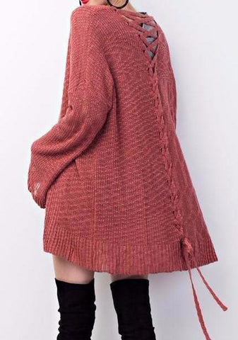 Scarlet Lace Up Cardigan