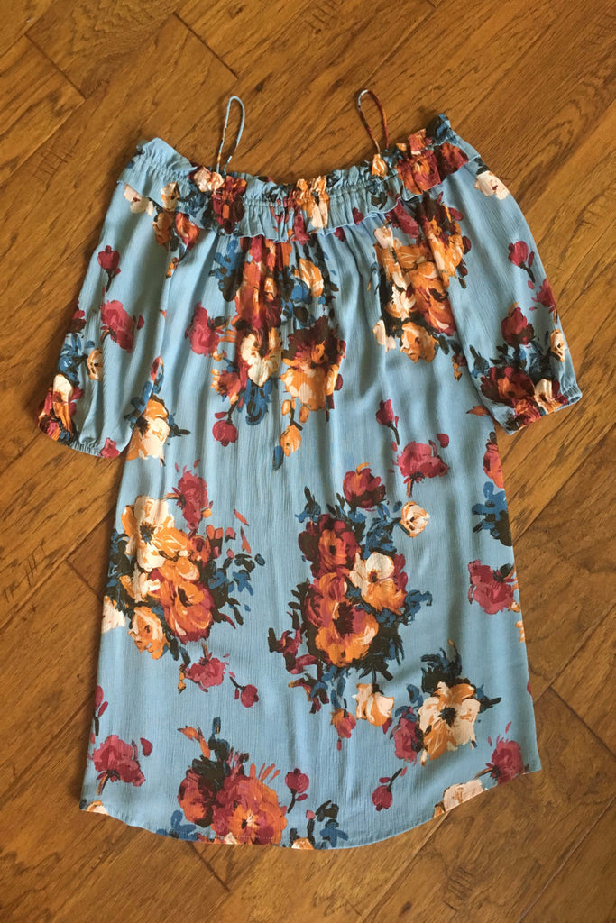 Blue Floral Off The Shoulder Dress