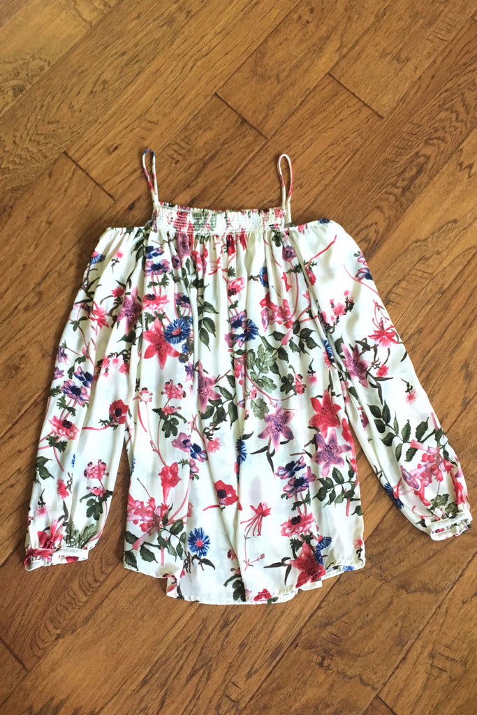Cold Shoulder Floral Smocking Top