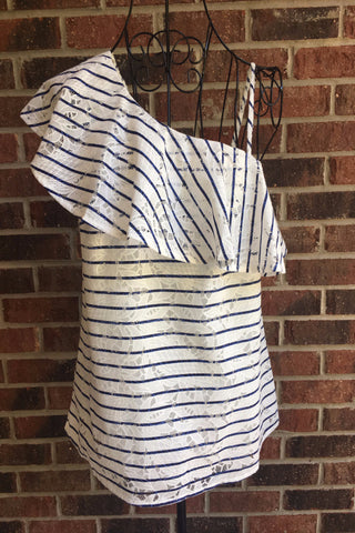 Off The Shoulder Navy Stripe Top