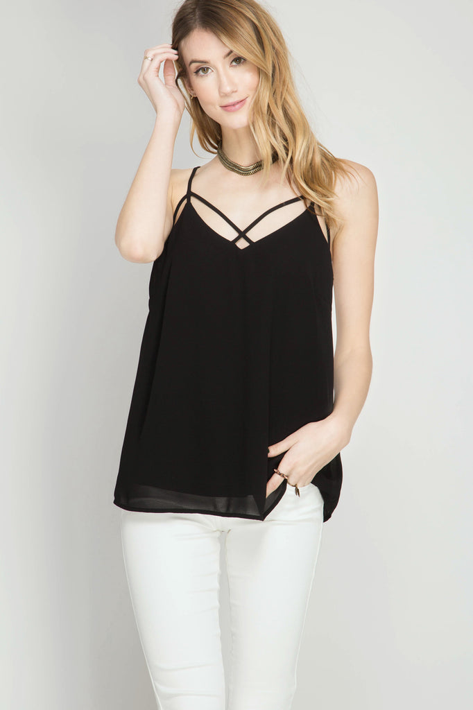 Black Strappy Cami Top