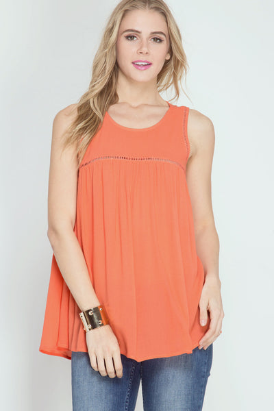 Ladder Trim Tangerine Top