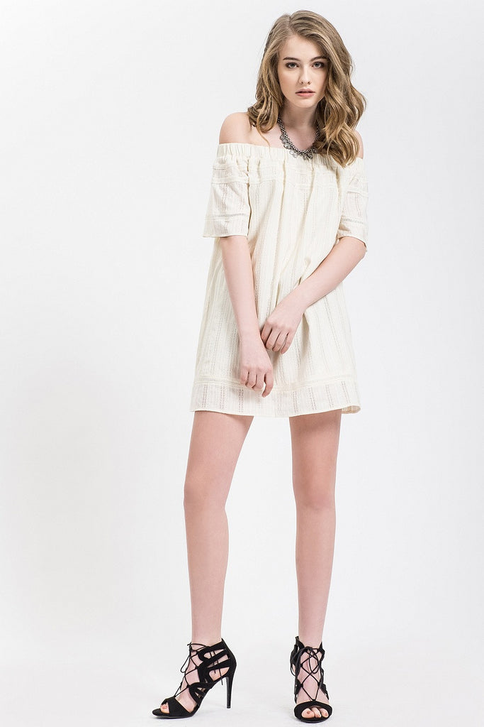 Ivory Off The Shoulder Dress