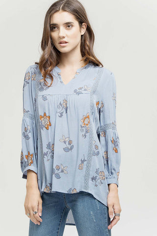 Spring Flowers Baby Blue Top