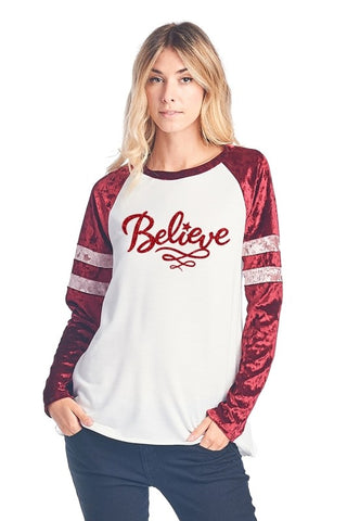 Believe Glitter Top