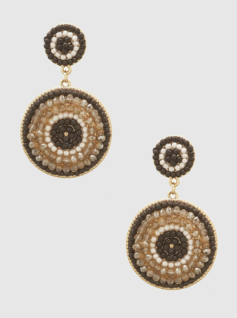 Black and Bronze Beaded Earrings
