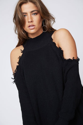 Frayed Cold Shoulder Sweater