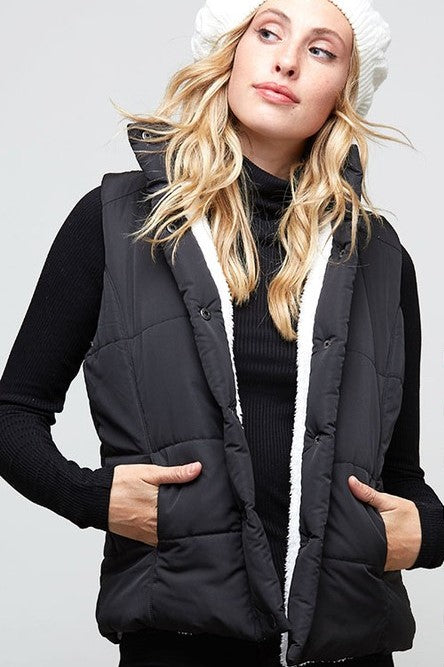 Black Quilted Cabin Vest