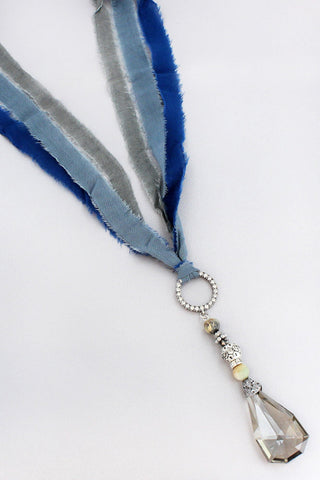 Blue Fabric Pendant Necklace