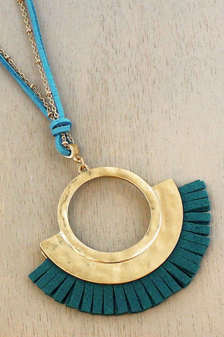 Turquoise Faux Suede Necklace
