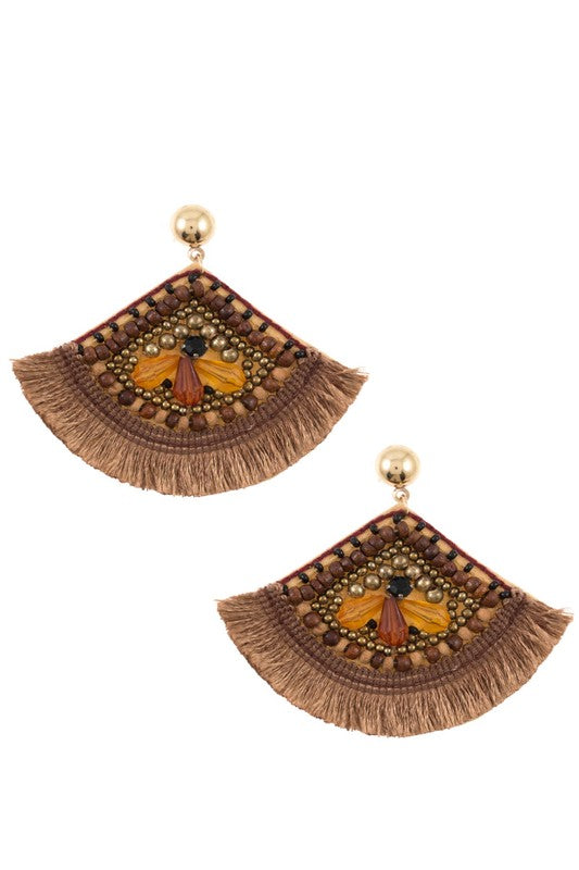Brown Boho Tassel Earrings