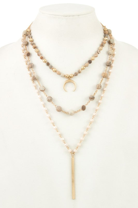 Crescent Gold Beaded Necklace