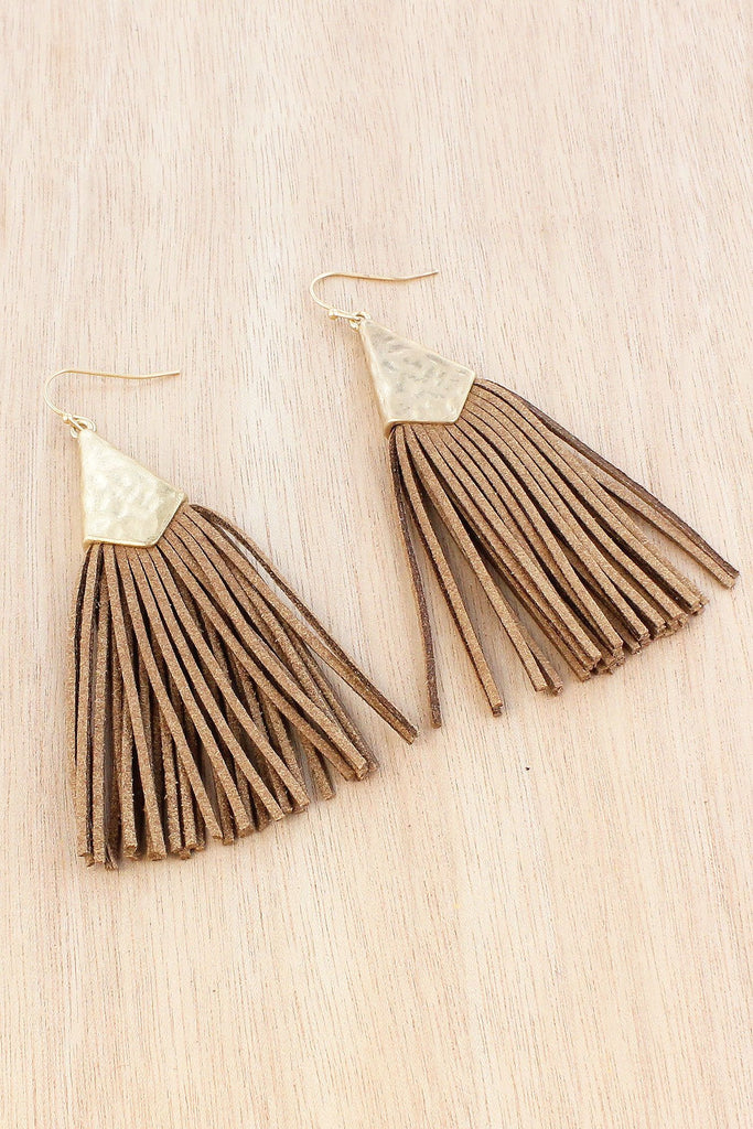 Brown Faux Suede Tassel Earrings